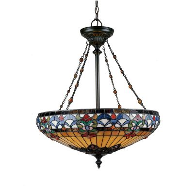 Belle Fleur 4 Light Pendant in Vintage Bronze and Tiffany Glass - QUOIZEl QZ/BELLEFLEUR/P